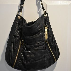 Cole Haan Black Leather Bailey Ruched Hobo Bag